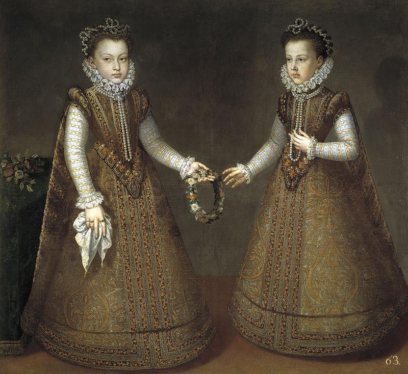 Les infantes Isabelle Claire Eugénie et Catherine Michelle (vers 1575), par Alonso Sánchez Coello.